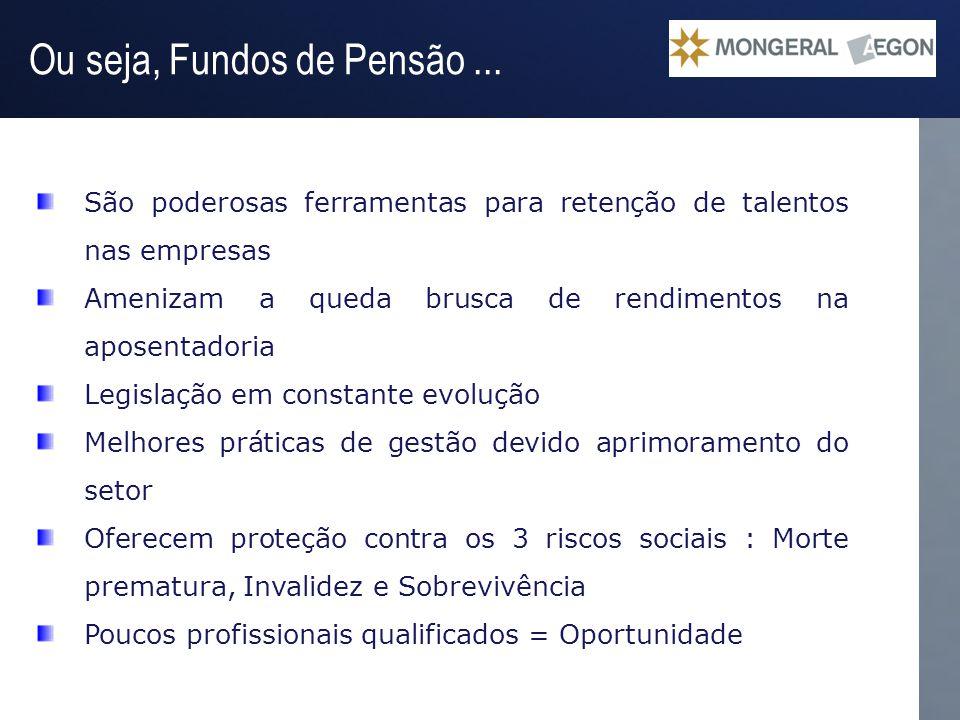 Operação Gestão do Passivo Ou seja, Fundos de Pensão... São poderosas ferramentas para retenção de talentos nas empresas Amenizam a queda brusca de re