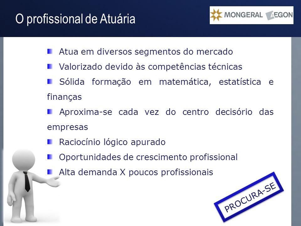 Operação Gestão do Passivo O profissional de Atuária Atua em diversos segmentos do mercado Valorizado devido às competências técnicas Sólida formação