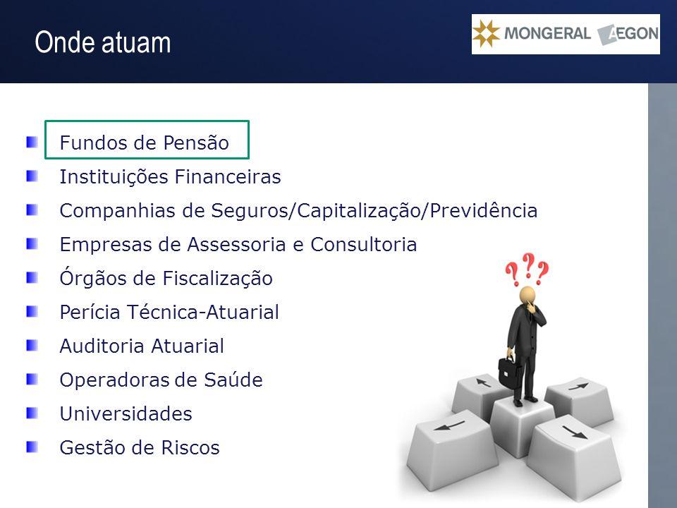 Operação Gestão do Passivo Onde atuam Fundos de Pensão Instituições Financeiras Companhias de Seguros/Capitalização/Previdência Empresas de Assessoria