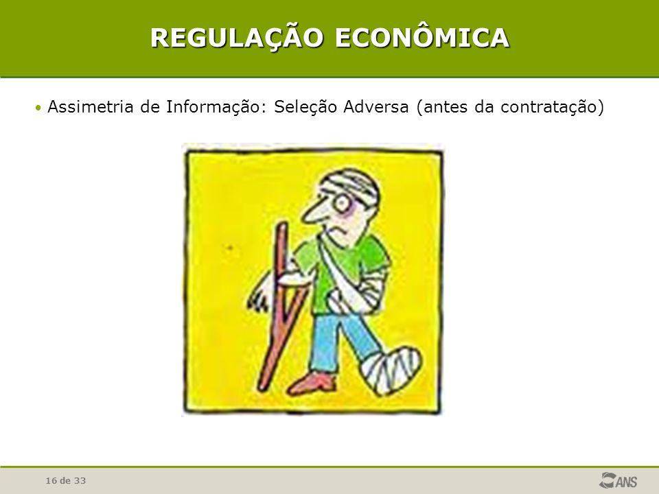 16 de 33 REGULAÇÃO ECONÔMICA Assimetria de Informação: Seleção Adversa (antes da contratação)
