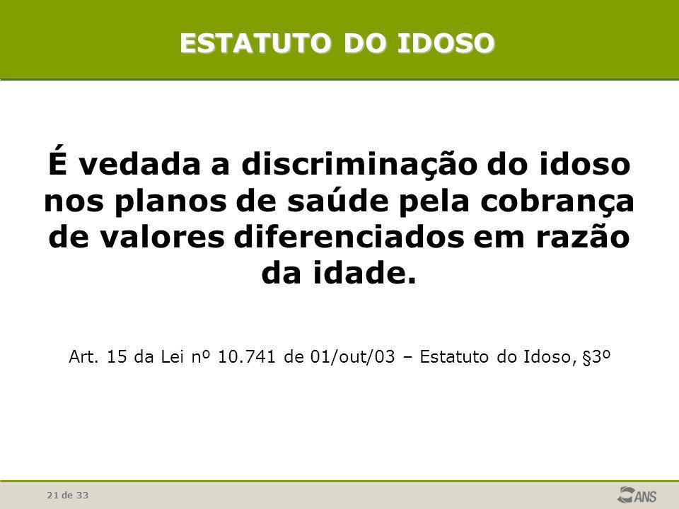 21 de 33 É vedada a discriminação do idoso nos planos de saúde pela cobrança de valores diferenciados em razão da idade. Art. 15 da Lei nº 10.741 de 0