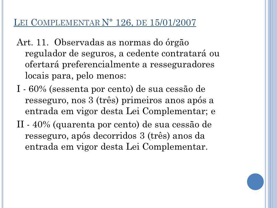 Art. 11. Observadas as normas do órgão regulador de seguros, a cedente contratará ou ofertará preferencialmente a resseguradores locais para, pelo men