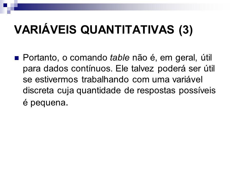 VARIÁVEIS QUANTITATIVAS (3) Portanto, o comando table não é, em geral, útil para dados contínuos. Ele talvez poderá ser útil se estivermos trabalhando