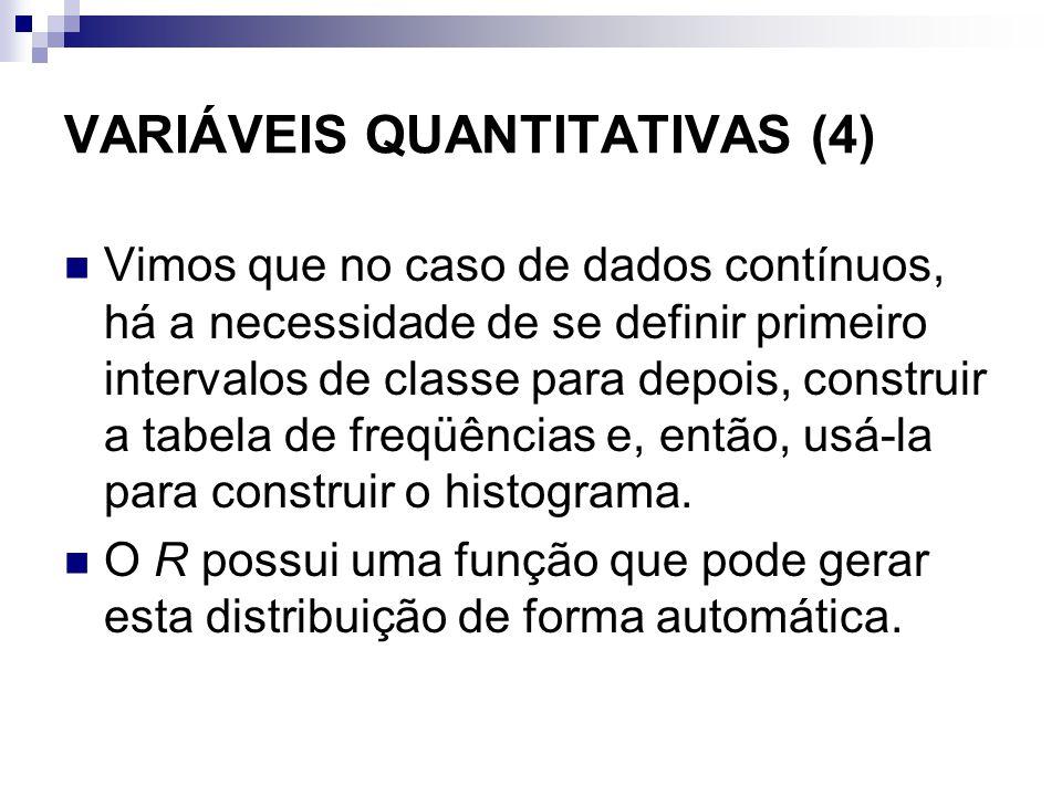VARIÁVEIS QUANTITATIVAS (4) Vimos que no caso de dados contínuos, há a necessidade de se definir primeiro intervalos de classe para depois, construir