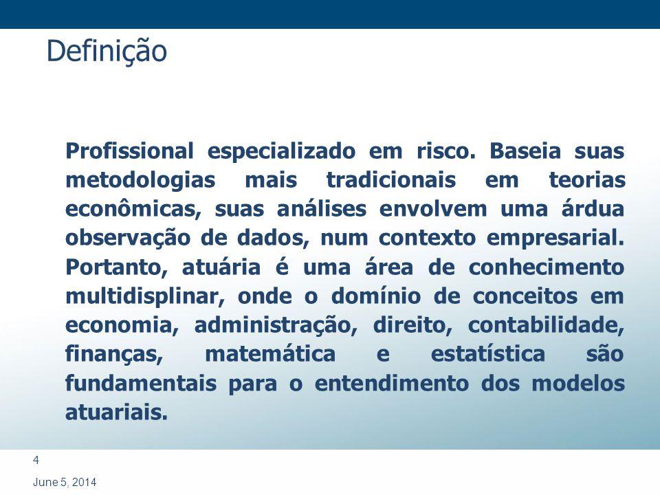 4 June 5, 2014 Profissional especializado em risco. Baseia suas metodologias mais tradicionais em teorias econômicas, suas análises envolvem uma árdua