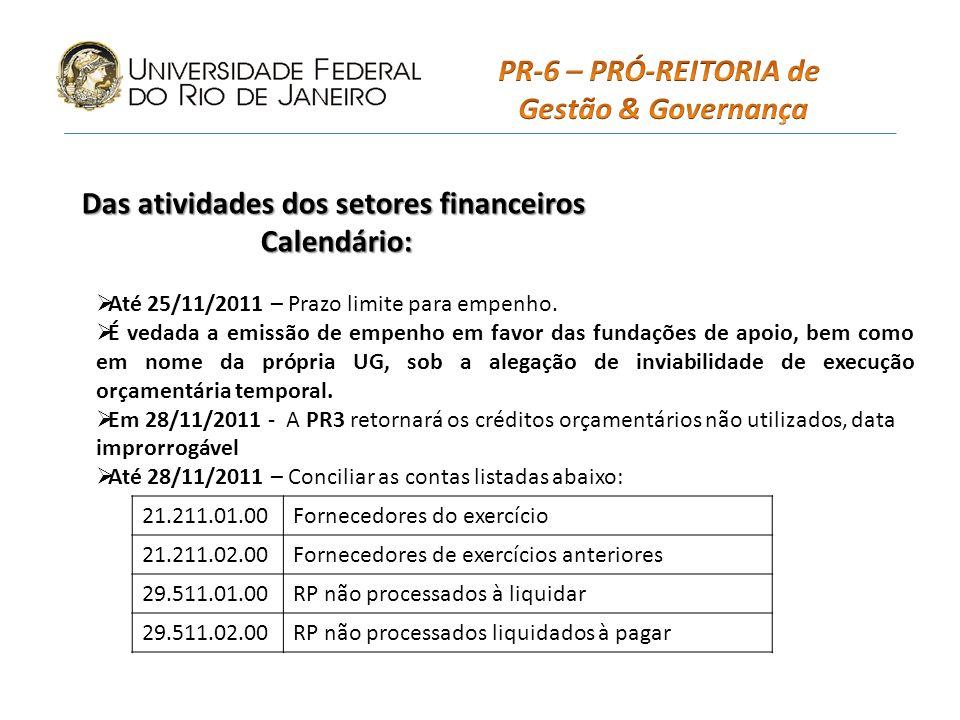 Das atividades dos setores financeiros Calendário: Até 25/11/2011 – Prazo limite para empenho.