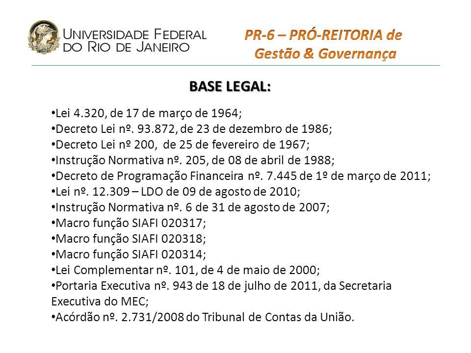 BASE LEGAL: Lei 4.320, de 17 de março de 1964; Decreto Lei nº.