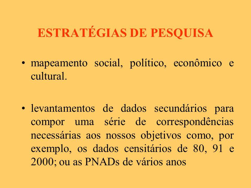 ESTRATÉGIAS DE PESQUISA mapeamento social, político, econômico e cultural.