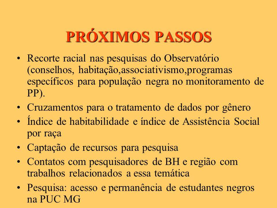 PRÓXIMOS PASSOS Recorte racial nas pesquisas do Observatório (conselhos, habitação,associativismo,programas específicos para população negra no monitoramento de PP).