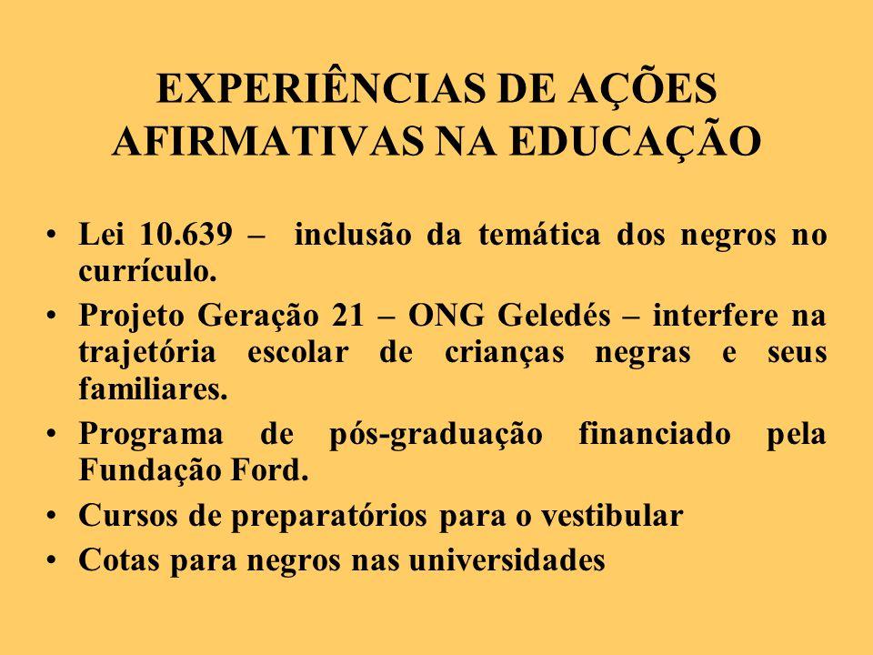 EXPERIÊNCIAS DE AÇÕES AFIRMATIVAS NA EDUCAÇÃO Lei 10.639 – inclusão da temática dos negros no currículo.