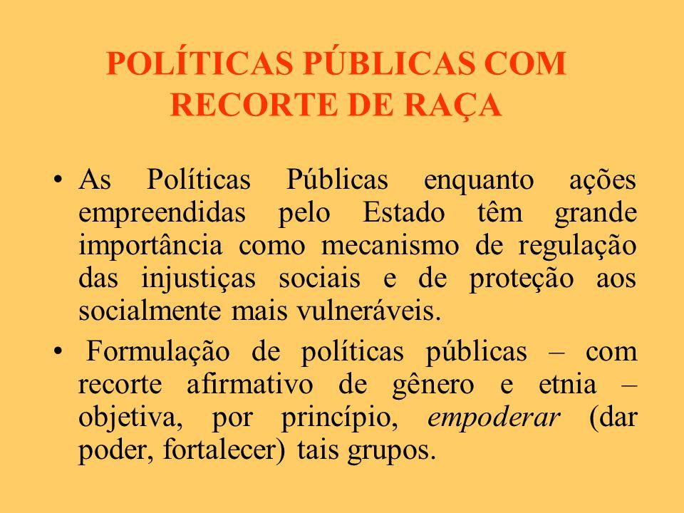 POLÍTICAS PÚBLICAS COM RECORTE DE RAÇA As Políticas Públicas enquanto ações empreendidas pelo Estado têm grande importância como mecanismo de regulação das injustiças sociais e de proteção aos socialmente mais vulneráveis.