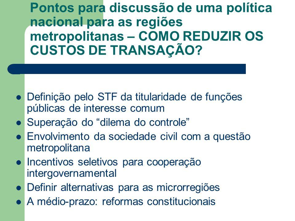 Pontos para discussão de uma política nacional para as regiões metropolitanas – COMO REDUZIR OS CUSTOS DE TRANSAÇÃO? Definição pelo STF da titularidad