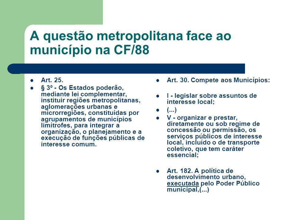 A questão metropolitana face ao município na CF/88 Art. 25. § 3º - Os Estados poderão, mediante lei complementar, instituir regiões metropolitanas, ag