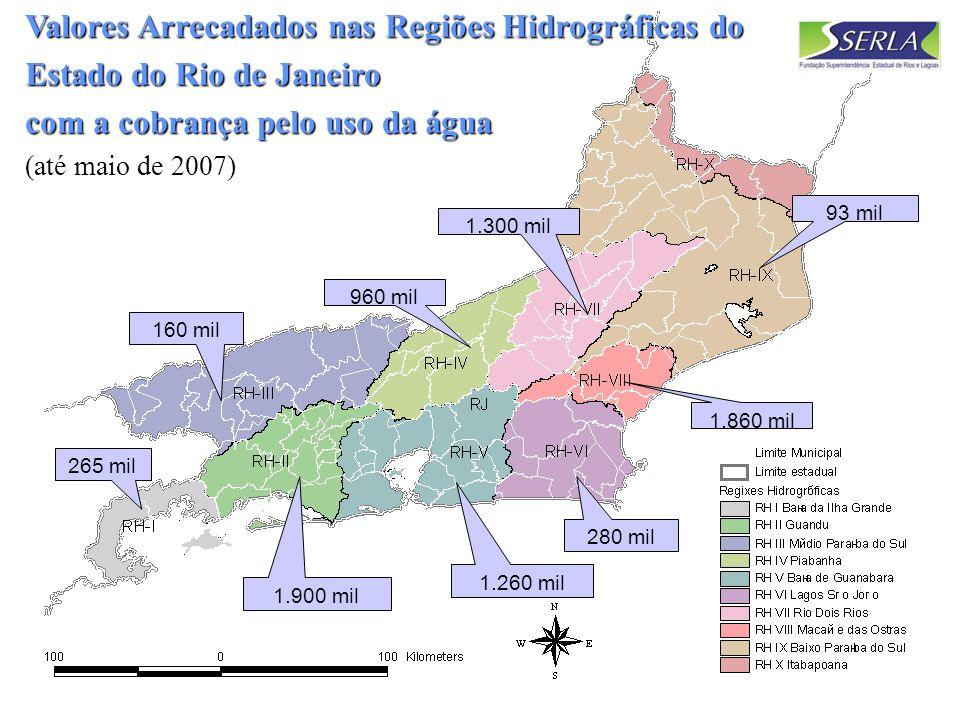 12 Valores Arrecadados nas Regiões Hidrográficas do Estado do Rio de Janeiro com a cobrança pelo uso da água Valores Arrecadados nas Regiões Hidrográficas do Estado do Rio de Janeiro com a cobrança pelo uso da água (até maio de 2007) 1.900 mil 160 mil 1.260 mil 1.860 mil 960 mil 1.300 mil 93 mil 265 mil 280 mil