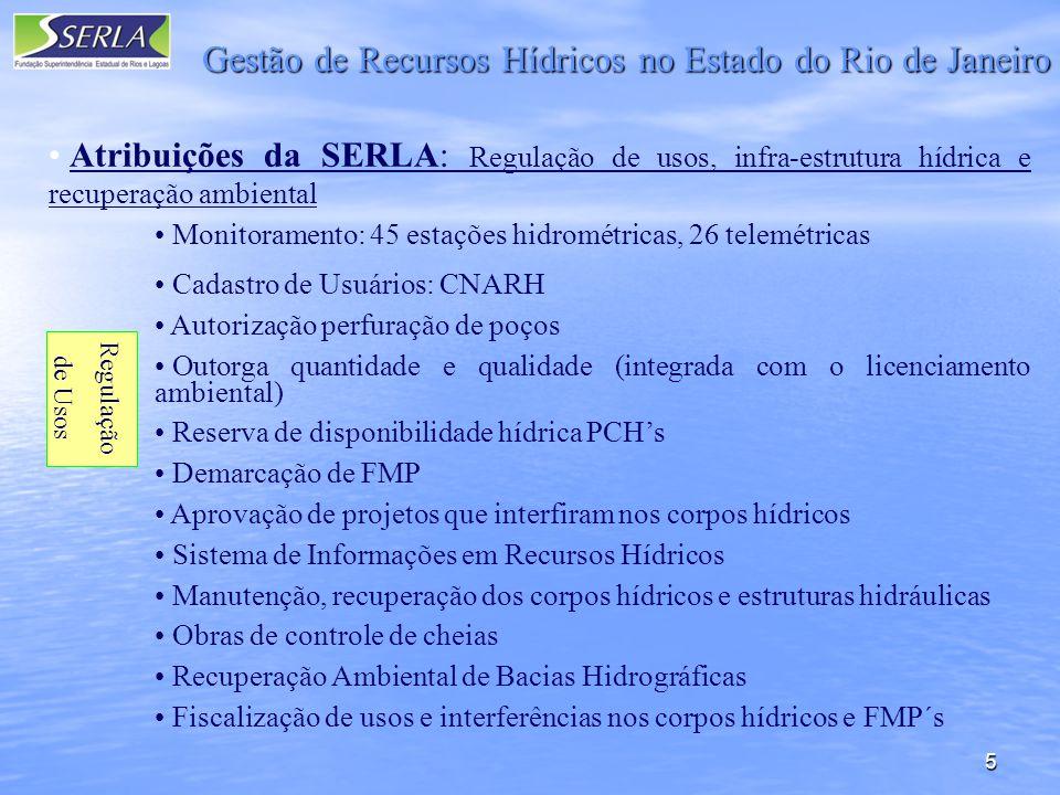 5 Gestão de Recursos Hídricos no Estado do Rio de Janeiro Atribuições da SERLA: Regulação de usos, infra-estrutura hídrica e recuperação ambiental Monitoramento: 45 estações hidrométricas, 26 telemétricas Cadastro de Usuários: CNARH Autorização perfuração de poços Outorga quantidade e qualidade (integrada com o licenciamento ambiental) Reserva de disponibilidade hídrica PCHs Demarcação de FMP Aprovação de projetos que interfiram nos corpos hídricos Sistema de Informações em Recursos Hídricos Manutenção, recuperação dos corpos hídricos e estruturas hidráulicas Obras de controle de cheias Recuperação Ambiental de Bacias Hidrográficas Fiscalização de usos e interferências nos corpos hídricos e FMP´s Regulação de Usos