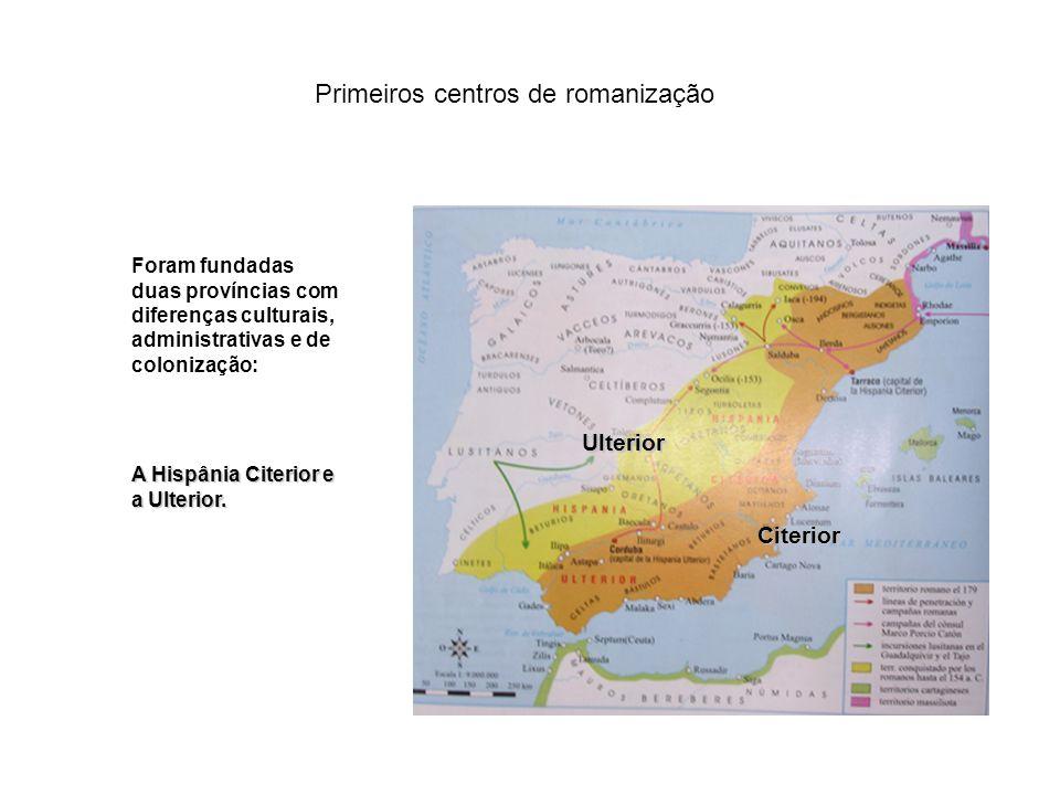 A romanização da Península Os primeiros centros de penetração romana na Península foram a bacia do Ebro e de Guadalquivir. Ebro Guadalquivir