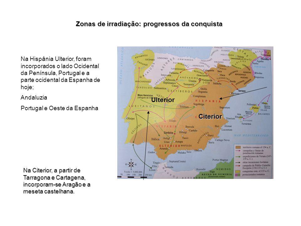 Em termos geográficos, a Hispânia Citerior ficava do lado de cá do estreito de Gibraltar. A Hispânia Ulterior corresponderia à Andaluzia de hoje (do l