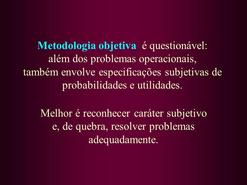 Metodologia objetiva é questionável: além dos problemas operacionais, também envolve especificações subjetivas de probabilidades e utilidades. Melhor