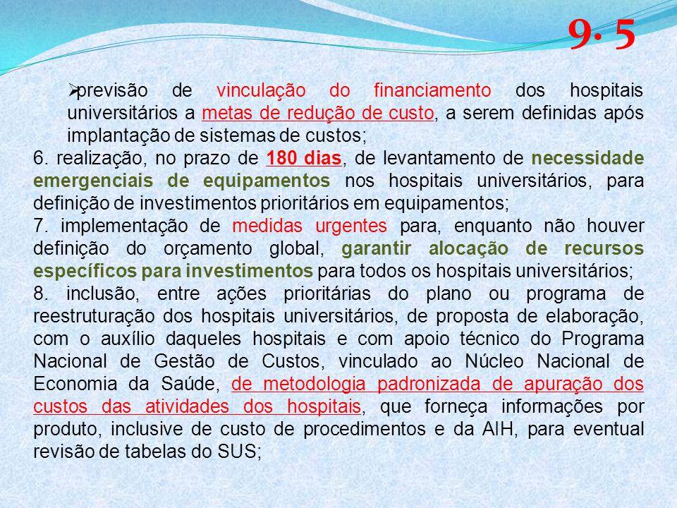 previsão de vinculação do financiamento dos hospitais universitários a metas de redução de custo, a serem definidas após implantação de sistemas de custos; 6.