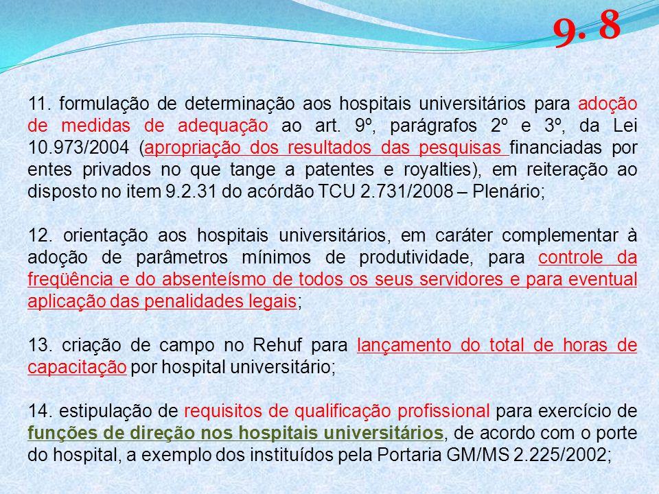 11. formulação de determinação aos hospitais universitários para adoção de medidas de adequação ao art. 9º, parágrafos 2º e 3º, da Lei 10.973/2004 (ap