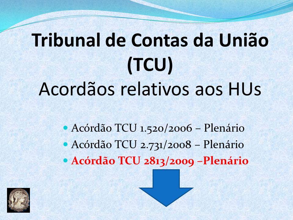 Tribunal de Contas da União (TCU) Acordãos relativos aos HUs Acórdão TCU 1.520/2006 – Plenário Acórdão TCU 2.731/2008 – Plenário Acórdão TCU 2813/2009 –Plenário