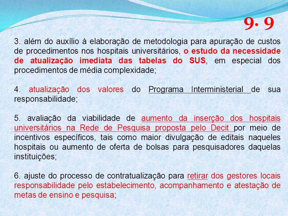 3. além do auxílio à elaboração de metodologia para apuração de custos de procedimentos nos hospitais universitários, o estudo da necessidade de atual