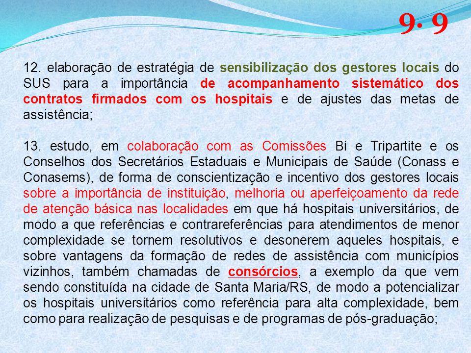 12. elaboração de estratégia de sensibilização dos gestores locais do SUS para a importância de acompanhamento sistemático dos contratos firmados com