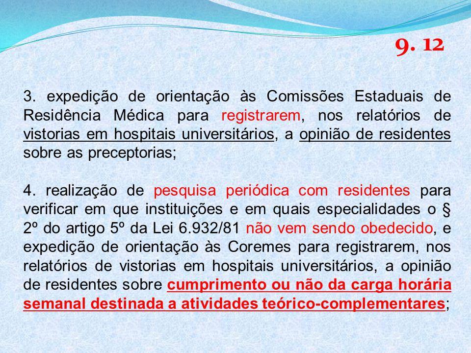3. expedição de orientação às Comissões Estaduais de Residência Médica para registrarem, nos relatórios de vistorias em hospitais universitários, a op