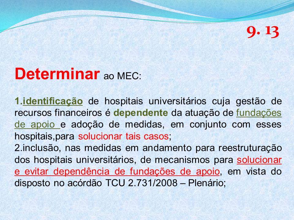 Determinar ao MEC: 1.identificação de hospitais universitários cuja gestão de recursos financeiros é dependente da atuação de fundações de apoio e adoção de medidas, em conjunto com esses hospitais,para solucionar tais casos; 2.inclusão, nas medidas em andamento para reestruturação dos hospitais universitários, de mecanismos para solucionar e evitar dependência de fundações de apoio, em vista do disposto no acórdão TCU 2.731/2008 – Plenário; 9.