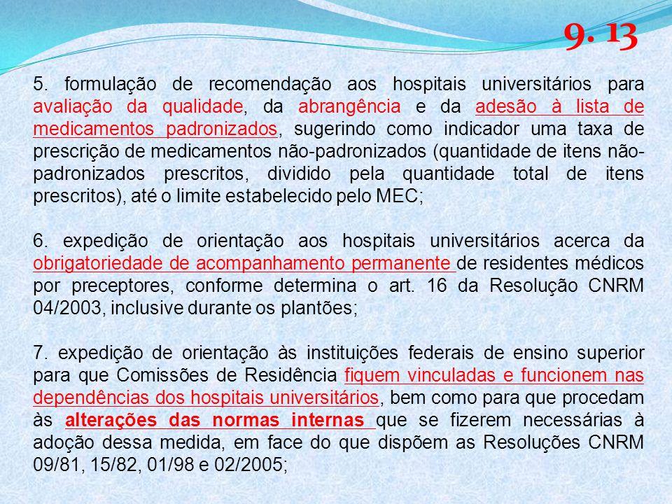5. formulação de recomendação aos hospitais universitários para avaliação da qualidade, da abrangência e da adesão à lista de medicamentos padronizado