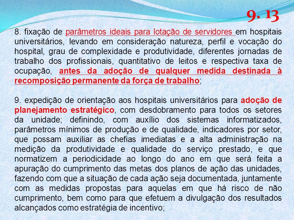 8. fixação de parâmetros ideais para lotação de servidores em hospitais universitários, levando em consideração natureza, perfil e vocação do hospital