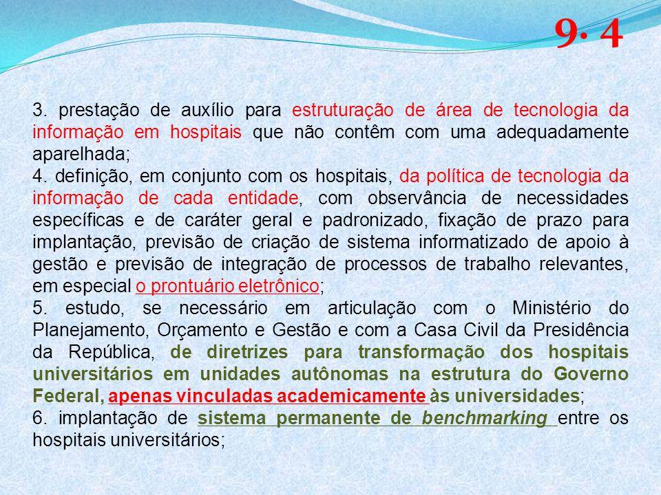 3. prestação de auxílio para estruturação de área de tecnologia da informação em hospitais que não contêm com uma adequadamente aparelhada; 4. definiç