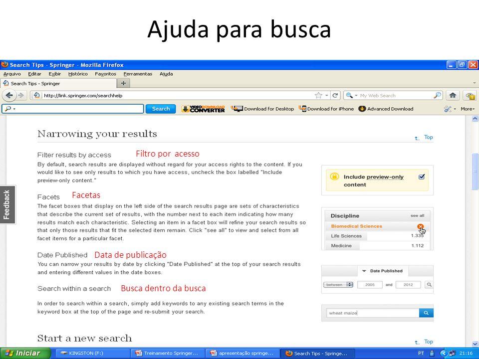 Filtro por acesso Facetas Data de publicação Busca dentro da busca