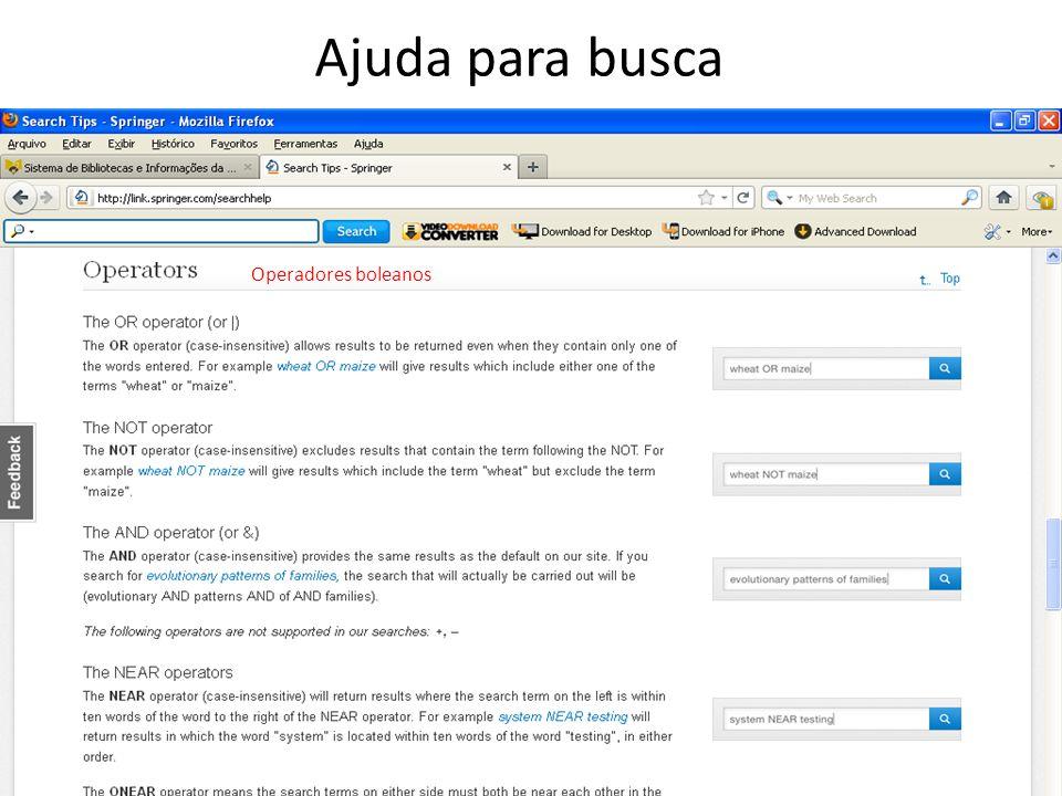 Ajuda para busca Operadores boleanos