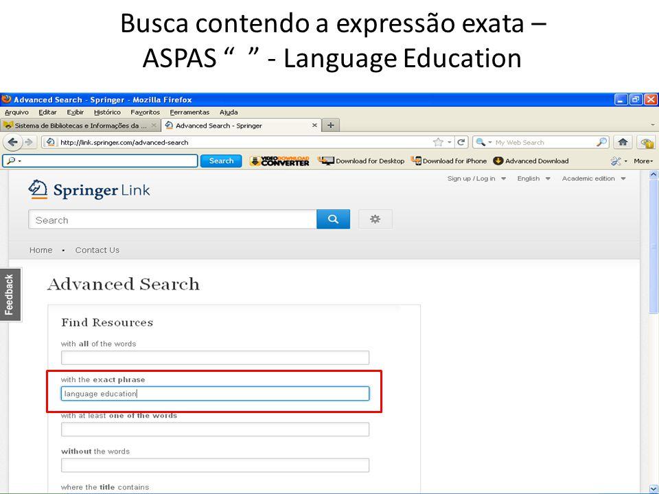 Busca contendo a expressão exata – ASPAS - Language Education