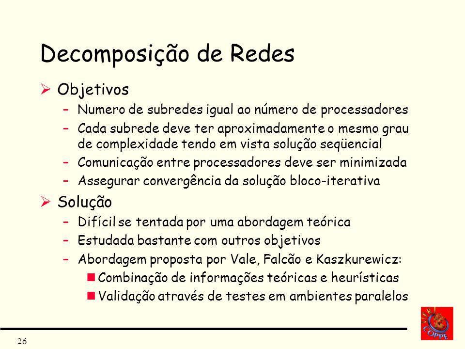 26 Decomposição de Redes Objetivos –Numero de subredes igual ao número de processadores –Cada subrede deve ter aproximadamente o mesmo grau de complex
