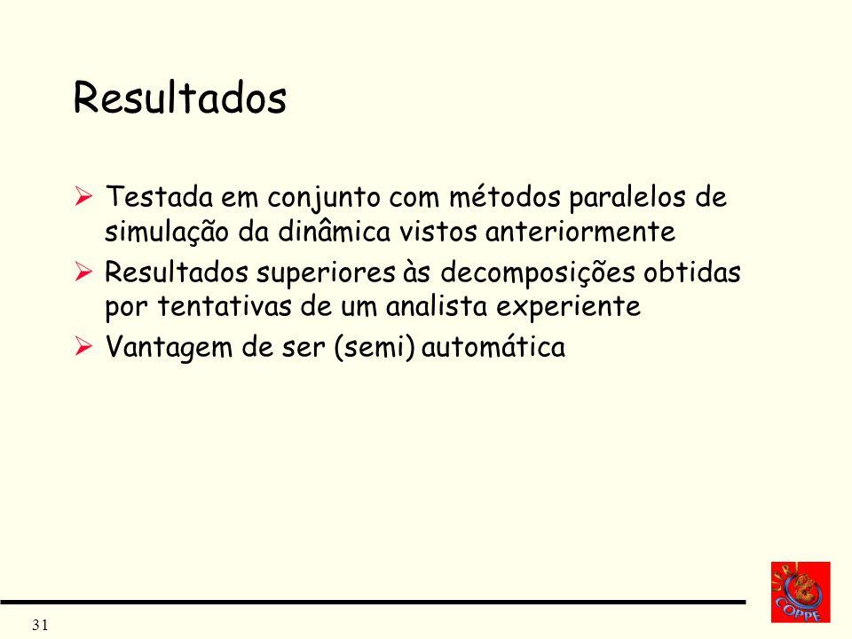 31 Resultados Testada em conjunto com métodos paralelos de simulação da dinâmica vistos anteriormente Resultados superiores às decomposições obtidas p