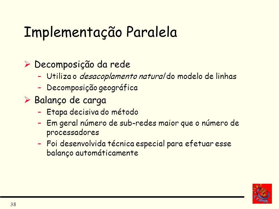 38 Implementação Paralela Decomposição da rede –Utiliza o desacoplamento natural do modelo de linhas –Decomposição geográfica Balanço de carga –Etapa