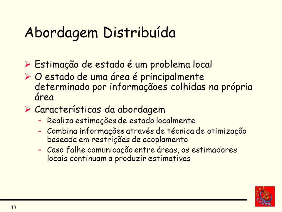 43 Abordagem Distribuída Estimação de estado é um problema local O estado de uma área é principalmente determinado por informaçãoes colhidas na própri