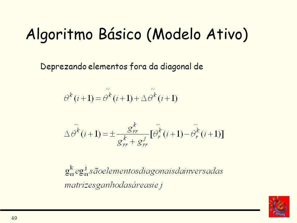 49 Algoritmo Básico (Modelo Ativo) Deprezando elementos fora da diagonal de