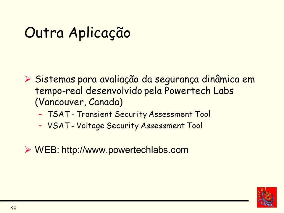 59 Outra Aplicação Sistemas para avaliação da segurança dinâmica em tempo-real desenvolvido pela Powertech Labs (Vancouver, Canada) –TSAT - Transient