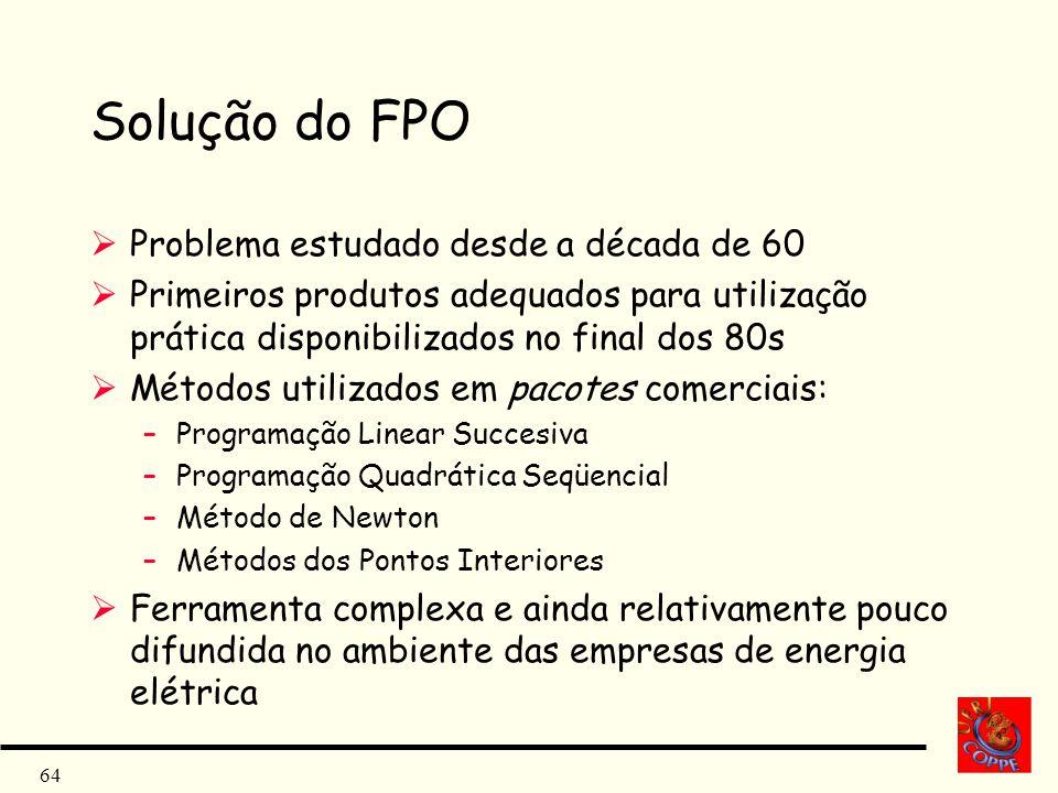 64 Solução do FPO Problema estudado desde a década de 60 Primeiros produtos adequados para utilização prática disponibilizados no final dos 80s Método