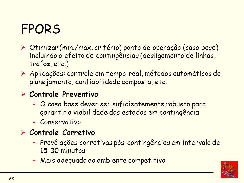 65 FPORS Otimizar (min./max. critério) ponto de operação (caso base) incluindo o efeito de contingências (desligamento de linhas, trafos, etc.) Aplica