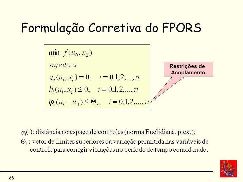 68 Formulação Corretiva do FPORS i (·): distância no espaço de controles (norma Euclidiana, p.ex.); i : vetor de limites superiores da variação permit