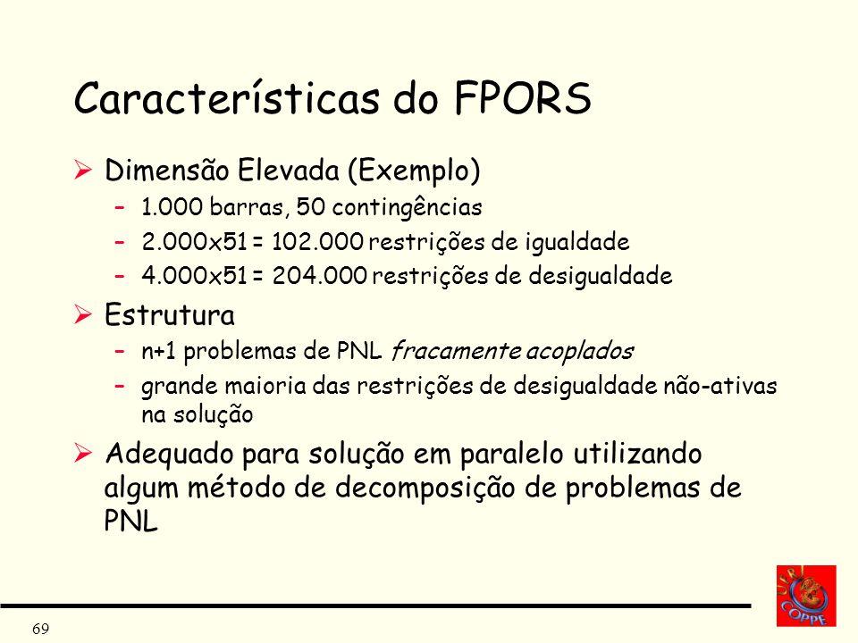 69 Características do FPORS Dimensão Elevada (Exemplo) –1.000 barras, 50 contingências –2.000x51 = 102.000 restrições de igualdade –4.000x51 = 204.000