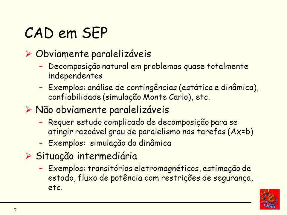 7 CAD em SEP Obviamente paralelizáveis –Decomposição natural em problemas quase totalmente independentes –Exemplos: análise de contingências (estática