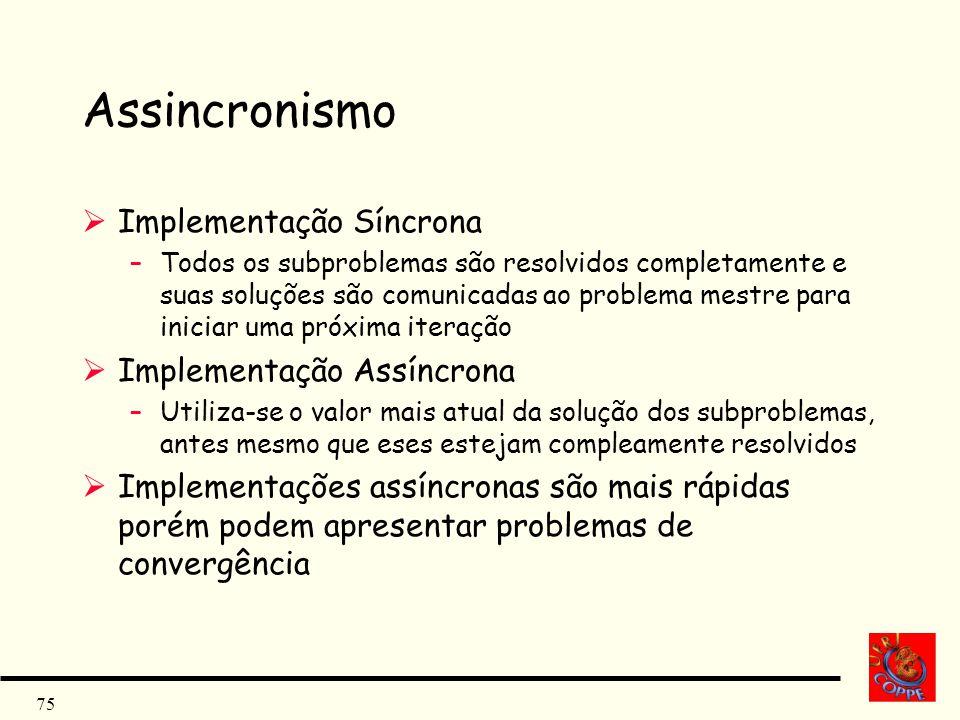 75 Assincronismo Implementação Síncrona –Todos os subproblemas são resolvidos completamente e suas soluções são comunicadas ao problema mestre para in