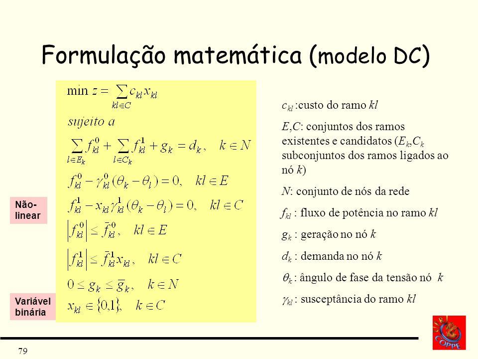 79 Formulação matemática ( modelo DC ) c kl :custo do ramo kl E,C: conjuntos dos ramos existentes e candidatos (E k,C k subconjuntos dos ramos ligados