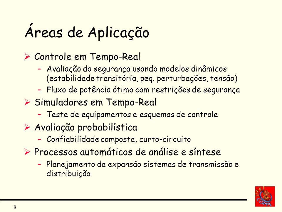 8 Áreas de Aplicação Controle em Tempo-Real –Avaliação da segurança usando modelos dinâmicos (estabilidade transitória, peq. perturbações, tensão) –Fl
