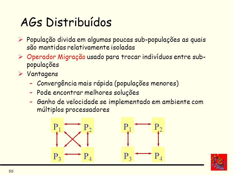 86 AGs Distribuídos População divida em algumas poucas sub-populações as quais são mantidas relativamente isoladas Operador Migração usado para trocar